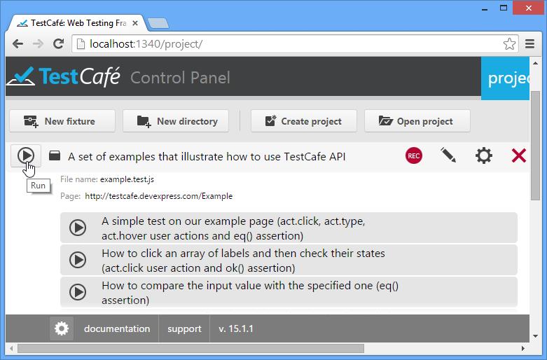Control Panel : TestCafe   DevExpress
