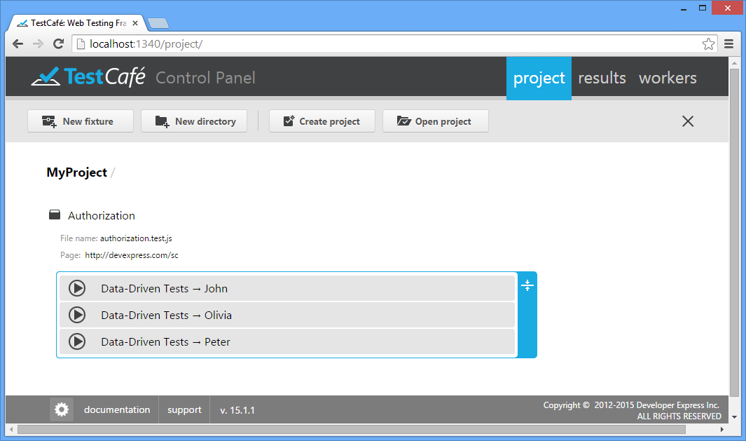 Control Panel : TestCafe | DevExpress