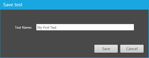 save the test dialog