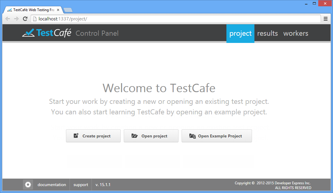 TestCafe Control Panel UI